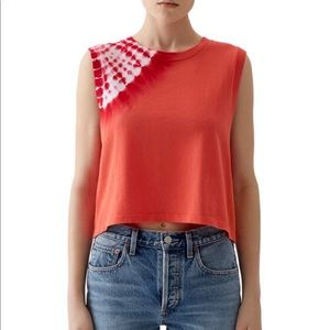 Agolde Cropped Tie Die Muscle Tee Pink Orange